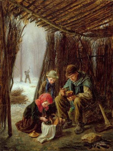 The Woodcutter's Meal, 1873 (Oil on Panel) Lámina giclée