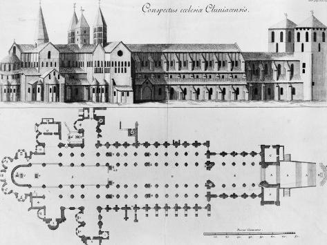 Plan and Elevation of Cluny Abbey Gicléetryck