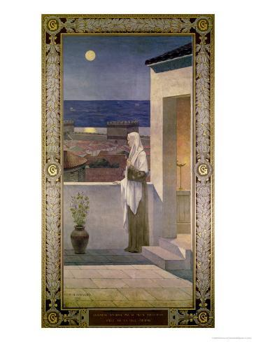 St. Genevieve Watches over the Sleeping City of Paris, 1898 Giclee Print