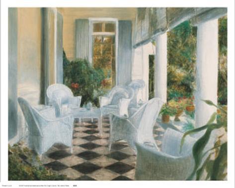 White Summer Terrace Art Print