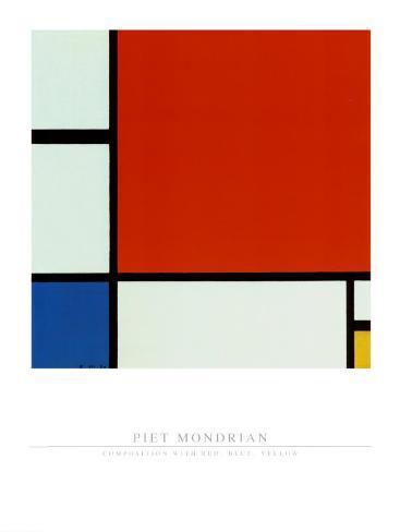 Composição com vermelho, azul e amarelo Impressão artística