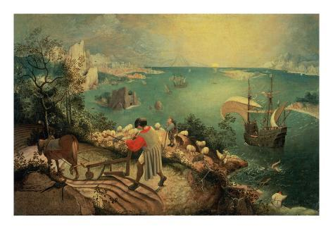 Landscape with the Fall of Icarus, about 1558 Giclee Print