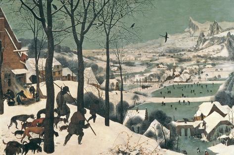 Metsästäjät lumessa, helmikuu 1565 Giclée-vedos