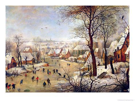 Winter Landscape with Bird Trap Giclee Print