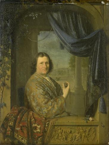Portrait of a Man with a Watch, Pieter Cornelisz. Van Slingelandt. Art Print