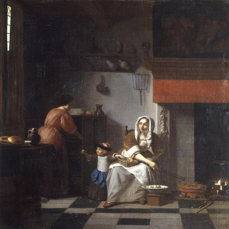 An Interior with a Woman, a Child and a Servant Lámina giclée