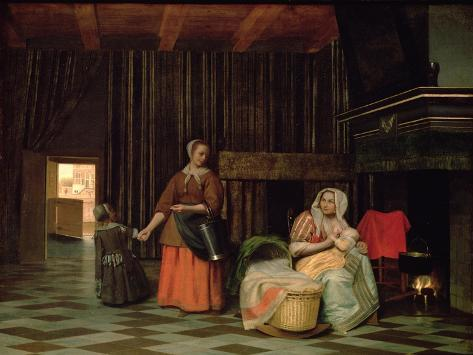 Woman with Infant, Serving Maid with Child Lámina giclée