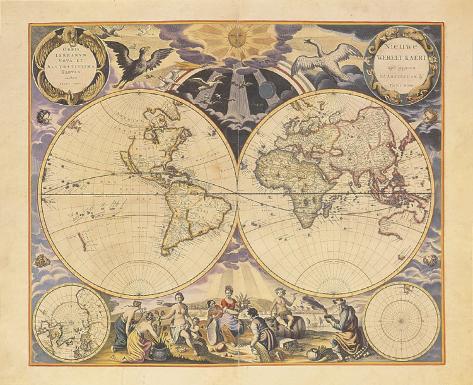 New World Map, c.1676 Art Print