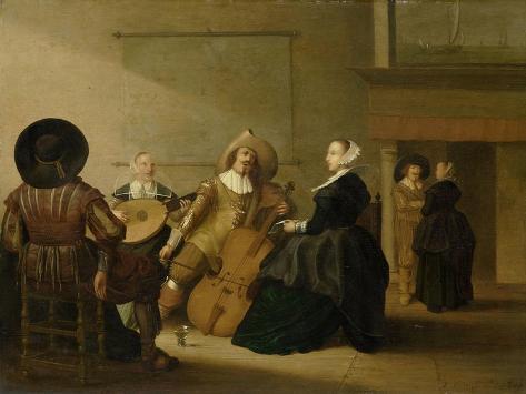 A Musical Company in an Interior Art Print