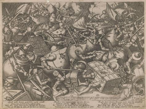 Fight of the Money-Bags and the Coffers, C. 1560 Giclee Print