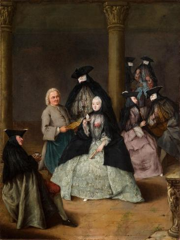 Masked Party in a Courtyard, 1755 Stampa giclée