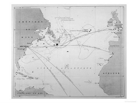 Pilot Chart Showing the Intended Journey of the Titanic Across the Atlantic Ocean Giclee Print
