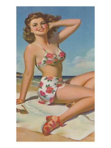 Pin-Up in Flowered Two-Piece Art Print