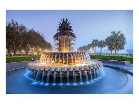 Pineapple Fountain Charleston Art Print