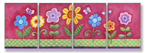 Pink Floral Set of 4 Wood Sign