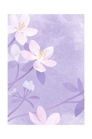 Pink Flowers on Purple Art Print