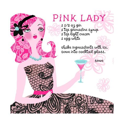 Pink Lady Drink Recipe Art Print