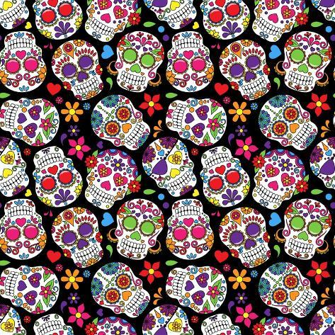 Day Of The Dead Sugar Skull Seamless Vector Background Art By Pink Pueblo At AllPosters