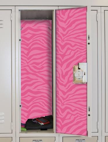 Pink Zebra Peel & Stick Locker Skins Wall Decal