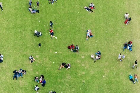 Ninety Degrees View of People Relaxing on a Meadow. Photographic Print