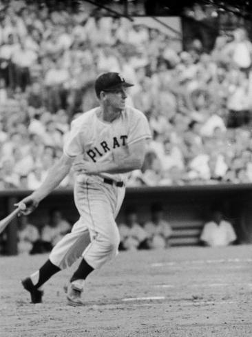Pittsburgh Pirates' First Baseman Dale Long in Action Premium Photographic Print