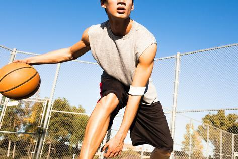 Fit Male Playing Basketball Outdoor Photographic Print