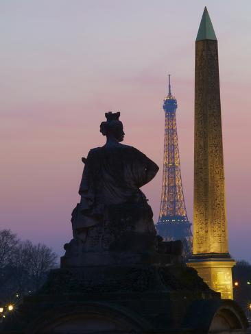 Place De La Concorde and Eiffel Tower in the Evening, Paris, France, Europe Photographic Print
