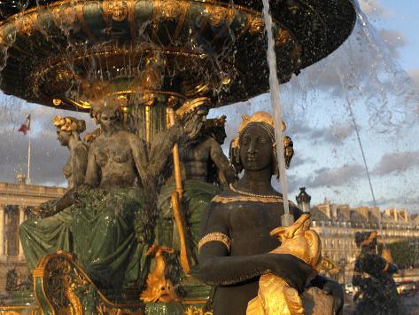 Place De La Concorde Fountain, Paris, France, Europe Stretched Canvas Print