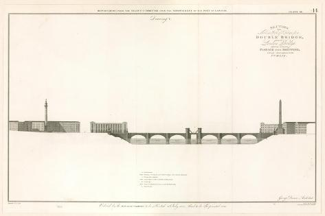 Plan for London Bridge Capable of Letting Ships Through Stampa giclée