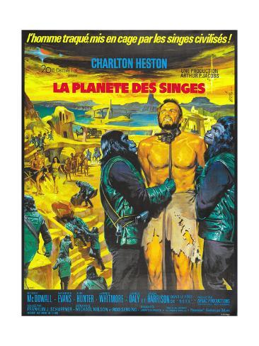 Planet of the Apes, (French Poster Art), Charlton Heston, 1968 Giclee Print