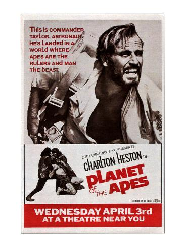 Planet of the Apes, Top: Charlton Heston, 1968 Photo