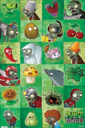 Plants vs Zombies Grid Video Game Poster Print Poster