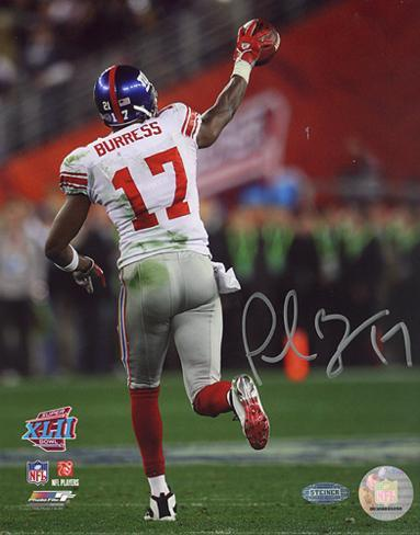 Plaxico Burress SB XLII Running Down Field After TD graph Autographed Photo (H& Signed Collectable) Photo