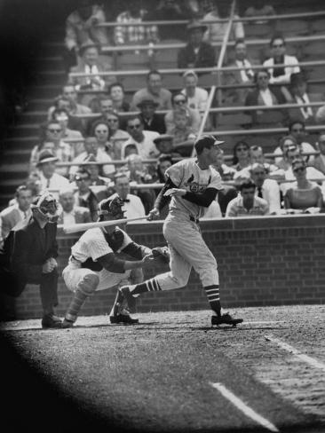 Player Stan Musial Making His 3000Th. Hit Premium Photographic Print
