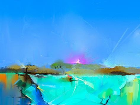 Abstract Colorful Oil Painting Landscape on Canvas. Semi- Abstract Image of Tree, Hill and Green Fi Art Print
