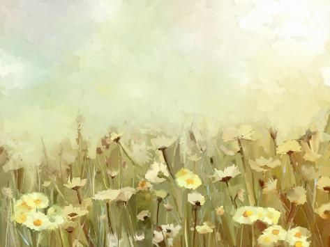 Vintage Oil Painting Daisy-Chamomile Flowers Field at Sunrise.Flower Oil Painting Background Stampa artistica