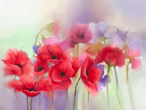 Watercolor red poppy flowers painting flower paint in soft color watercolor red poppy flowers painting flower paint in soft color and blur style soft green and pu mightylinksfo Image collections