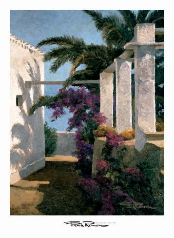 Bougainvillea and Palm Trees Art Print