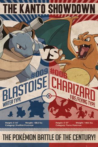 Pokemon- Kanto Showdown Blastoise vs. Charizoid Poster