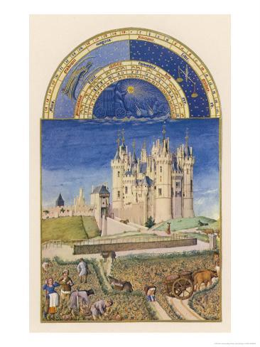 September the Wine Harvest Takes Place Close to the Chateau De Saumur Giclee Print