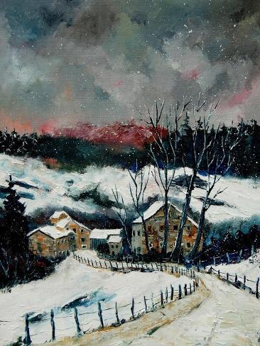 Snow in Sechery Village Ardennes Impressão artística