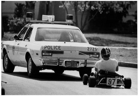 Police Car Towing Go-Kart Archival Photo Poster Poster