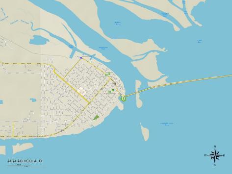 Political Map of Apalachicola, FL Art Print