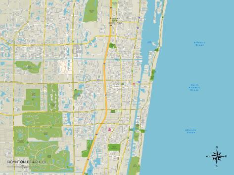 Political Map of Boynton Beach, FL Art Print
