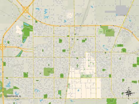 Political Map of Champaign, IL Art Print