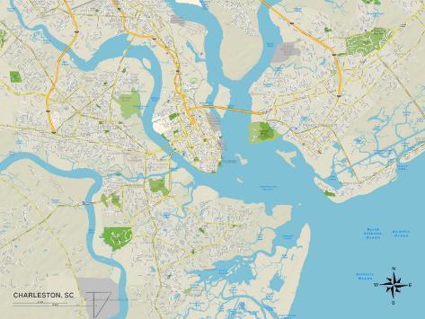 Political Map of Charleston, SC Art Print