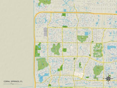 Map Of Coral Springs Florida.Political Map Of Coral Springs Fl Art Allposters Ca