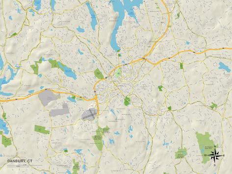 Political Map of Danbury, CT Art Print