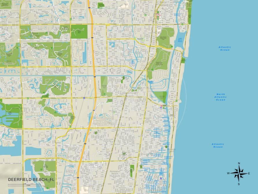 Political Map of Deerfield Beach, FL Prints at AllPosters.com on