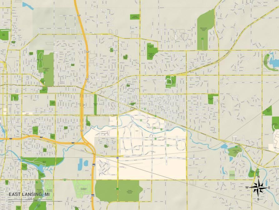 Political Map of East Lansing, MI Prints at AllPosters.com